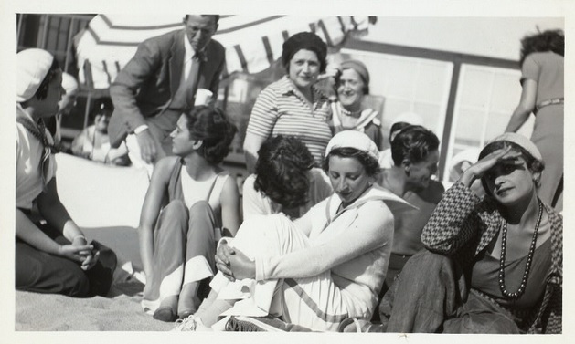 With friends on the beach in 1931.