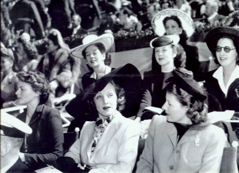In 1941 with Loretta Young, Rosalind Russell, Deanna Durbin, Ingrid Bergman, Marlene Dietrich and Irene Dunne.