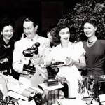 Reggie Gardner, Joan Bennett and Shirley Patterson at the AWVS auction held at Joan's home. SEP 4 1942.