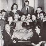 1944 with Bob Hope in the center, Kay, Carole Landis, Mitzi Mayfair, Martha Raye  others.