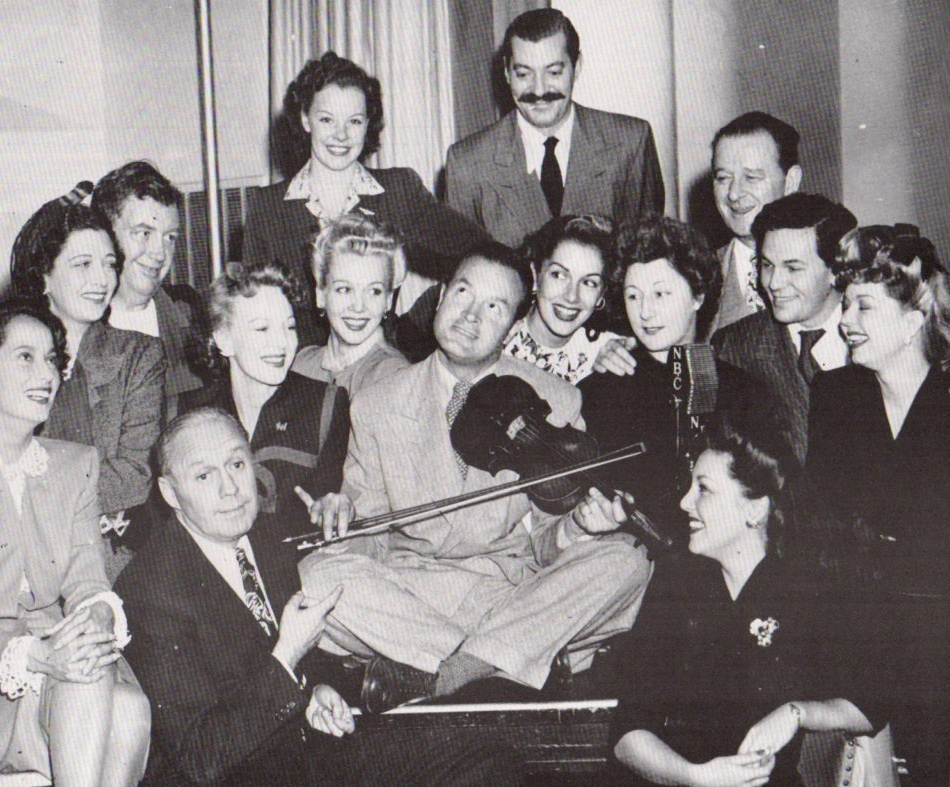 1944 with Bob Hope in the center, Kay, Carole Landis, Mitzi Mayfair, Martha Raye  others.