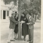 On the Paramount lot in 1930 with Marlene Dietrich and two unknown men.